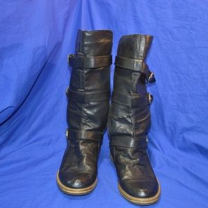 Rampage Vinyl leather like boots Black Sz 10 Jaime